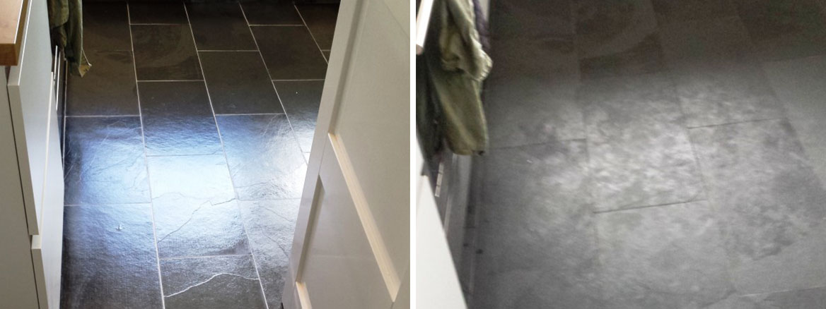 Grubby, Unsealed Slate Tiles Revitalised in Lymm