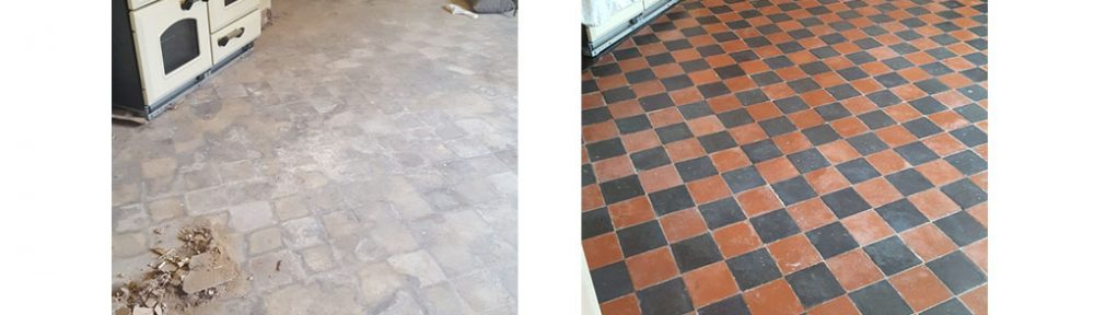 Quarry Tiled Kitchen Floor Hidden Under Screed Restored in Mobberley