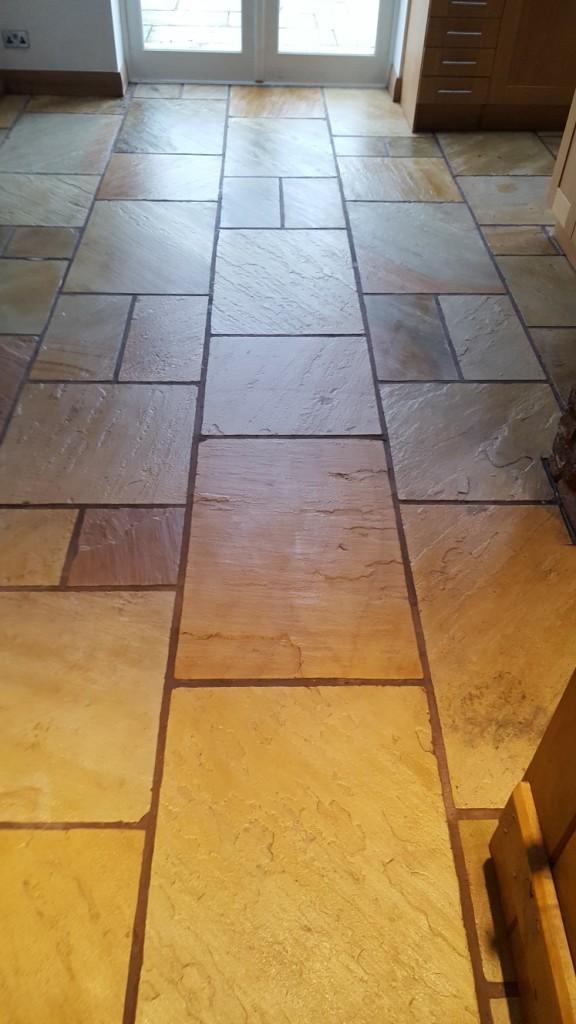 Sandstone Kitchen Floor After Sealing Bramhall