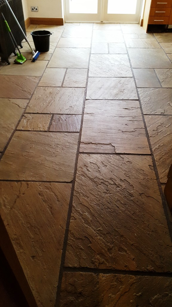 Sandstone Kitchen Floor Before Cleaning Bramhall