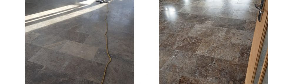 Large Travertine Floor Polished at an Eaton Barn Conversion near Congleton