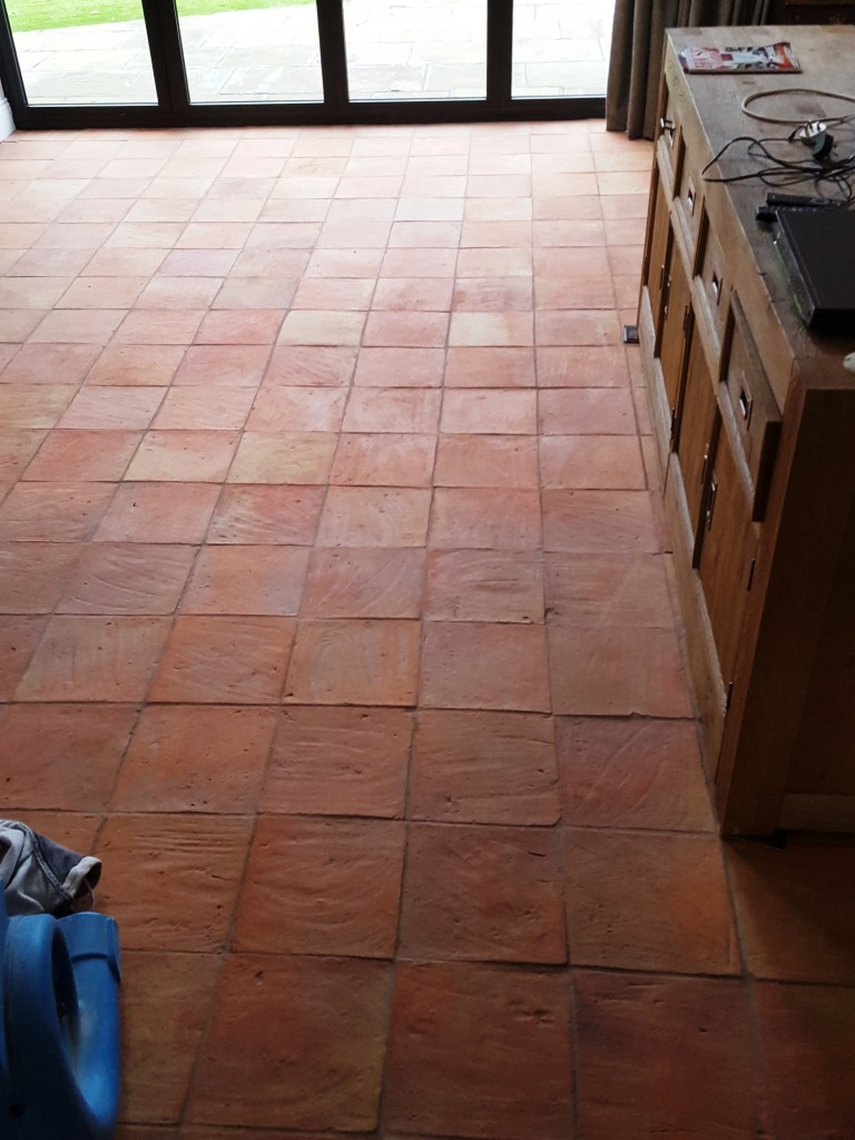 Cleaning a 90m2 spanish terracotta tiled kitchen floor in alderley spanish terracotta floor tiles after cleaning alderley edge dailygadgetfo Choice Image