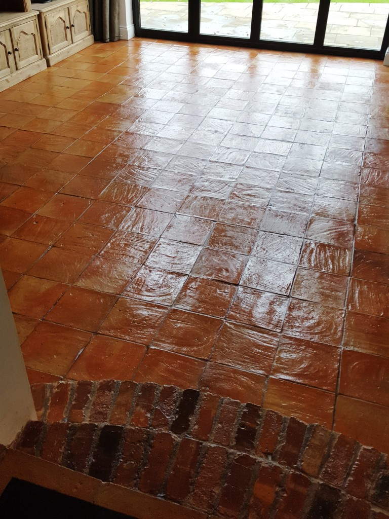 Spanish Terracotta Floor Tiles After Cleaning and Sealing Alderley Edge