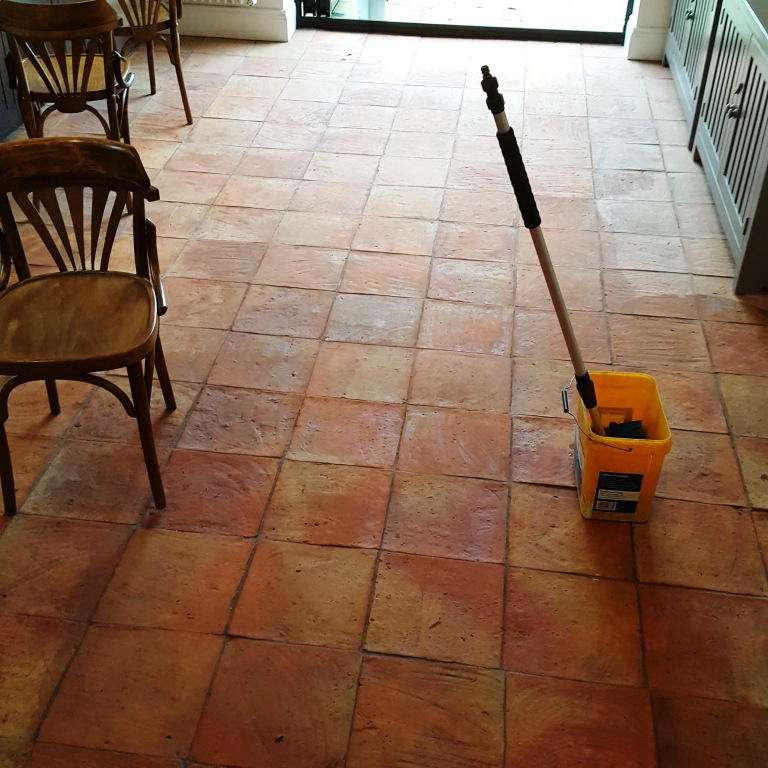Spanish Terracotta Floor Tiles During Cleaning Alderley Edge