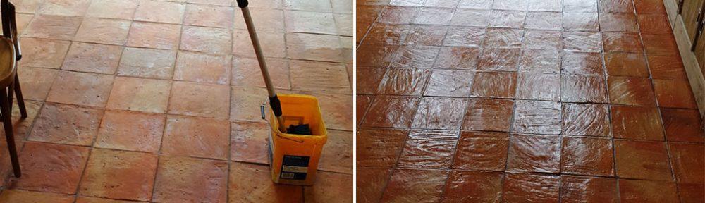 Cleaning a 90m2 Spanish Terracotta Tiled Kitchen Floor in Alderley Edge