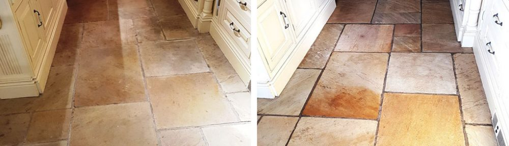Dull Sandstone Kitchen Tiles Revitalised in Quarry Bank Mill