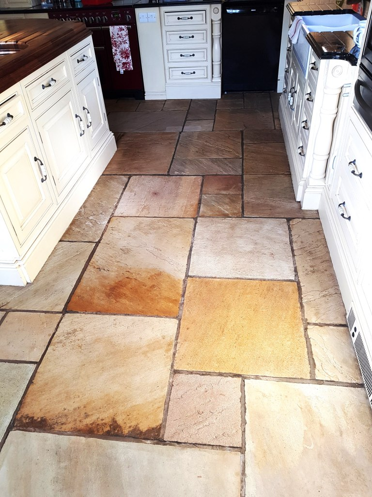 Sandstone Kitchen Floor Tile After Sealing Quarry Bank Mill Cottage