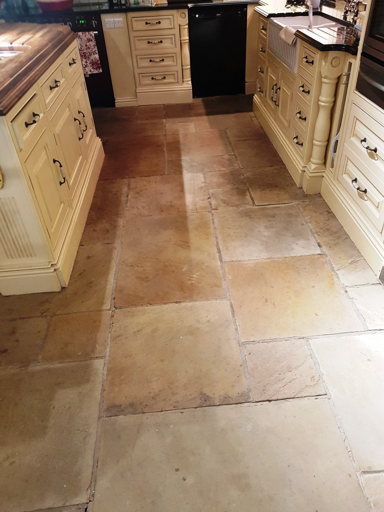 Stone cleaning and polishing tips for sandstone floors sandstone kitchen floor tile before cleaning quarry bank mill cottage dailygadgetfo Image collections