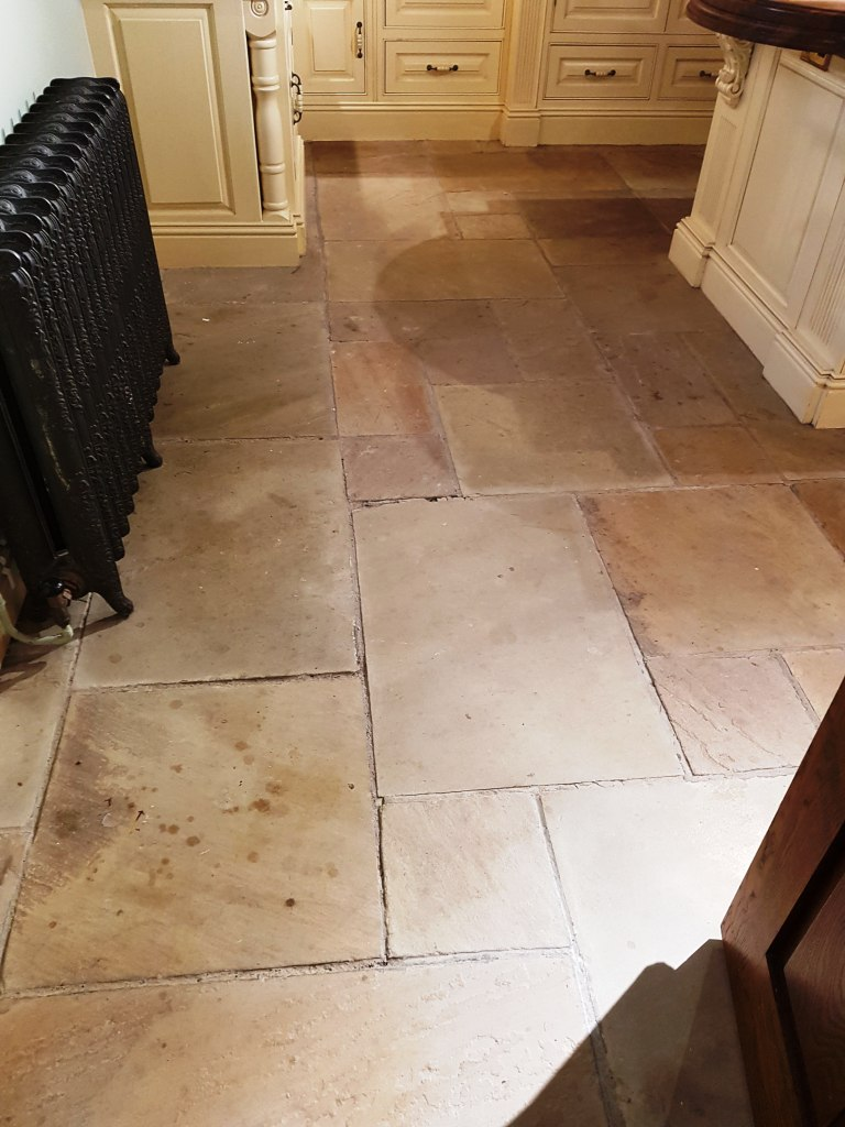Sandstone Kitchen Floor Tile Before Cleaning Quarry Bank Mill Cottage