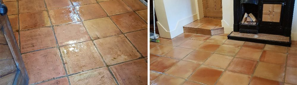 Terracotta Tiled Floor Before and After Cleaning Knutsford Cheshire