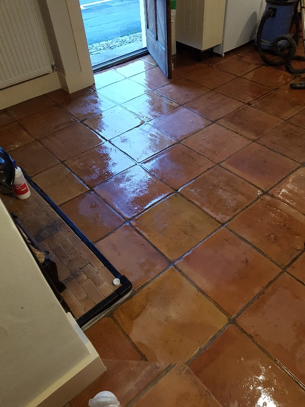 Terracotta Tiled Floor During Cleaning Knutsford
