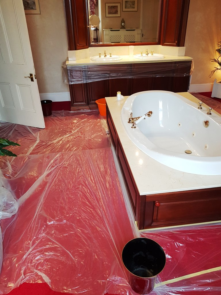 Polishing Marble Counter Tops In An Opulent Bowden Bathroom Marble Tile Cleaning And Polishing