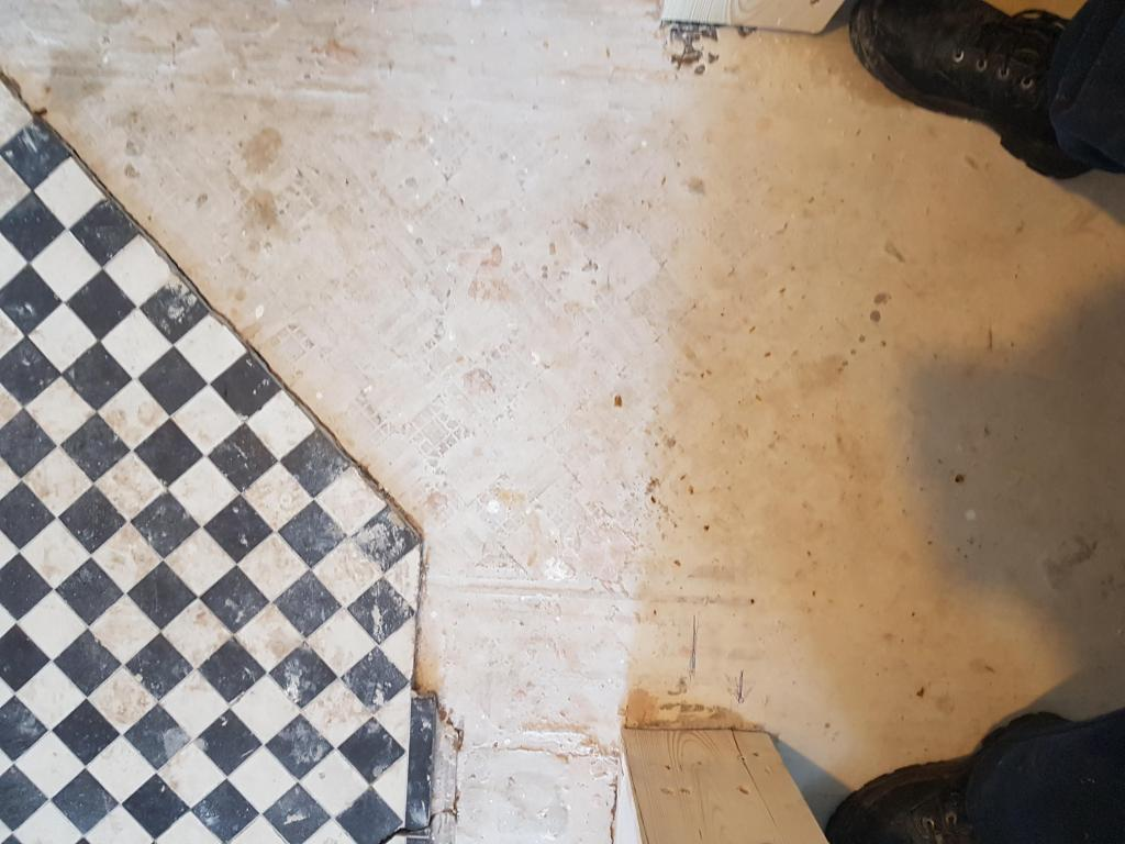 Black White Victorian Hallway Floor During Restoration Hale Barns