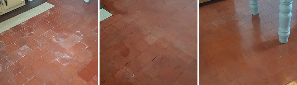 Quarry Tiled Kitchen Floor Deep Cleaned in Goostrey
