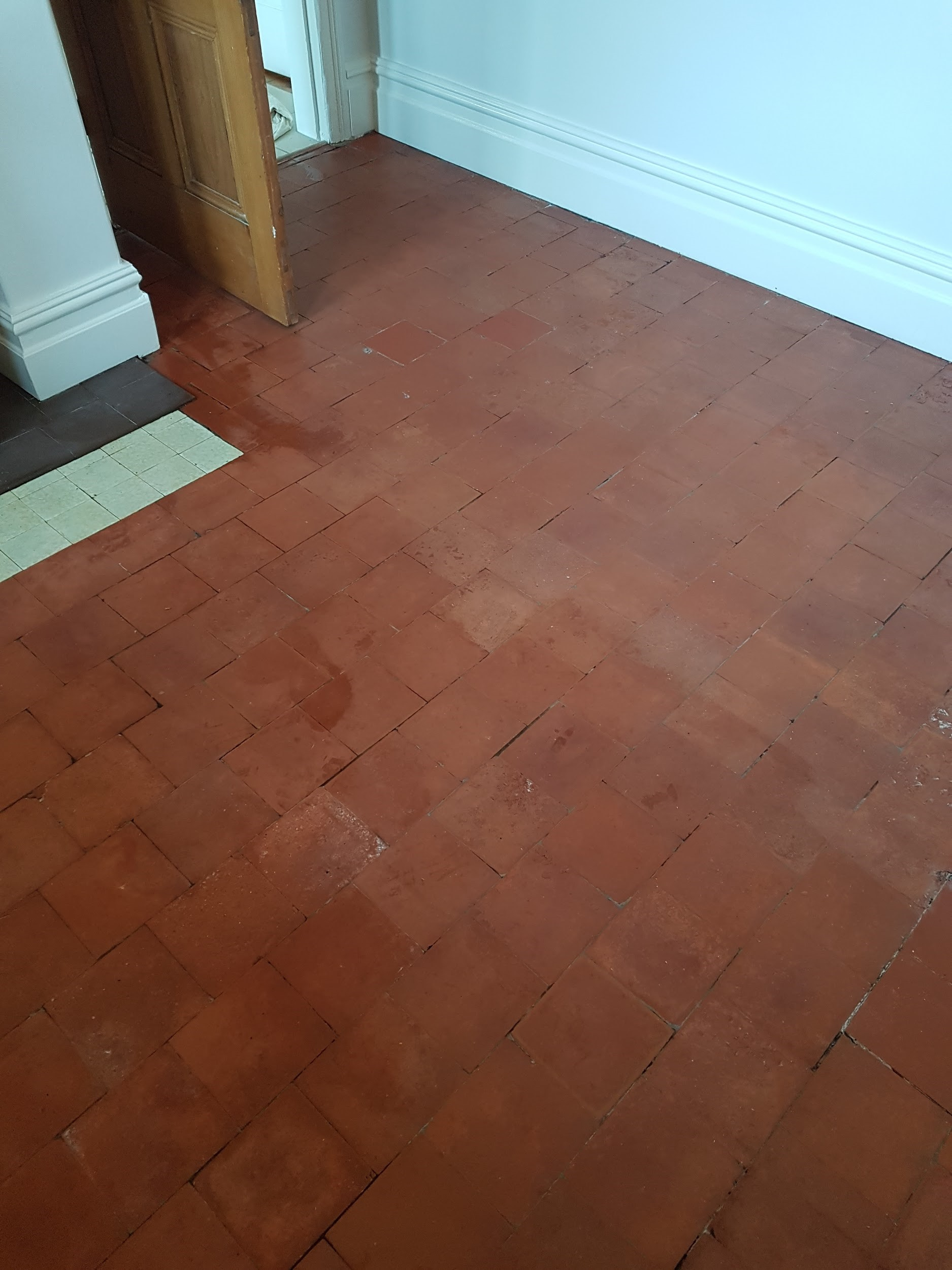 Quarry Tiled Kitchen Floor During Cleaning Goostrey
