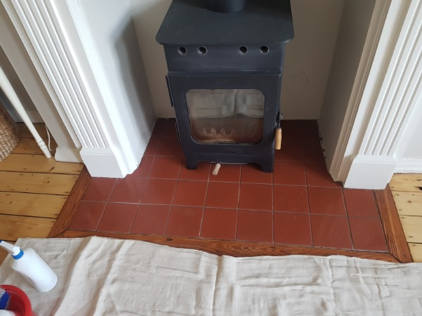 Quarry Tiled Hearth Before Grout Colouring Lindow End