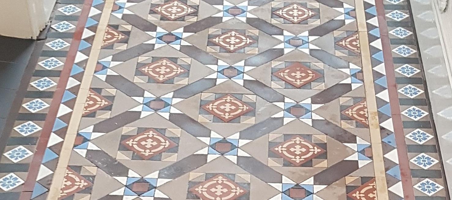 Victorian Tiled Hallway Before Restoration Jodrell Bank Zoom