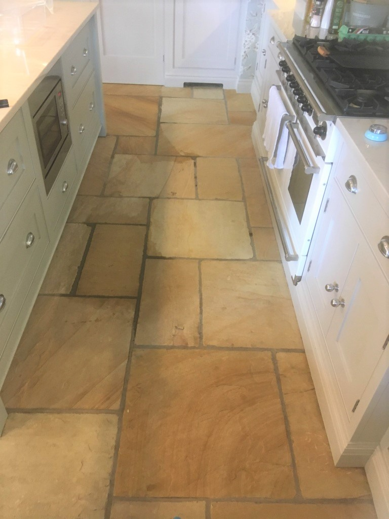 Large Sandstone Floor After Cleaning Disley