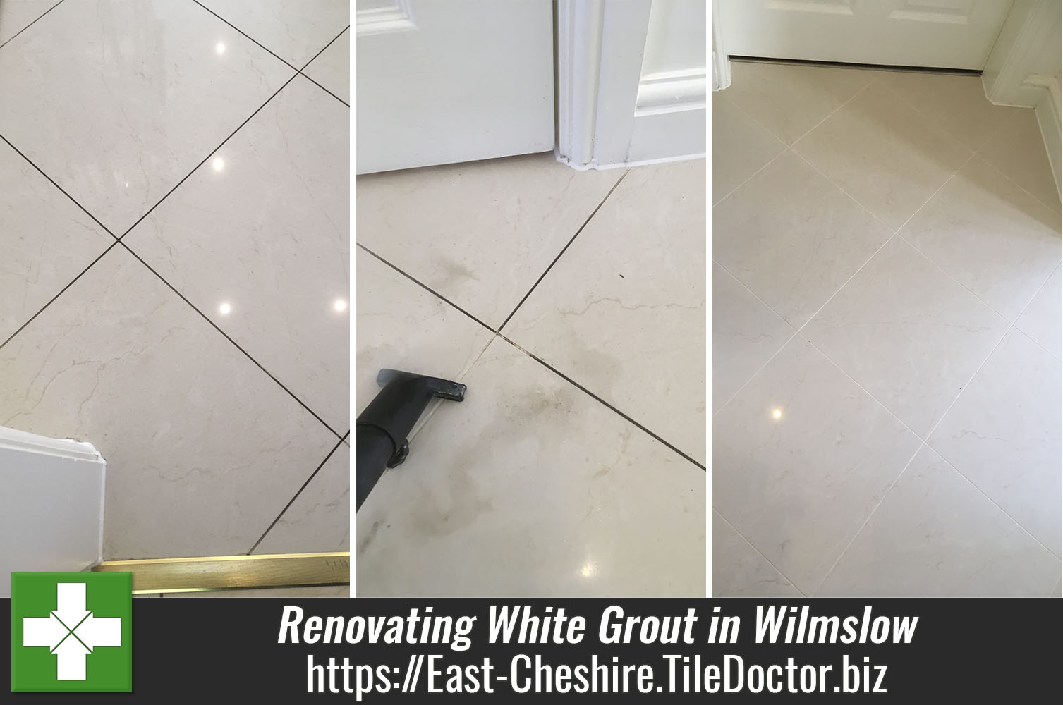 Restoring White Grout on a Ceramic Tiled Floor in Wilmslow