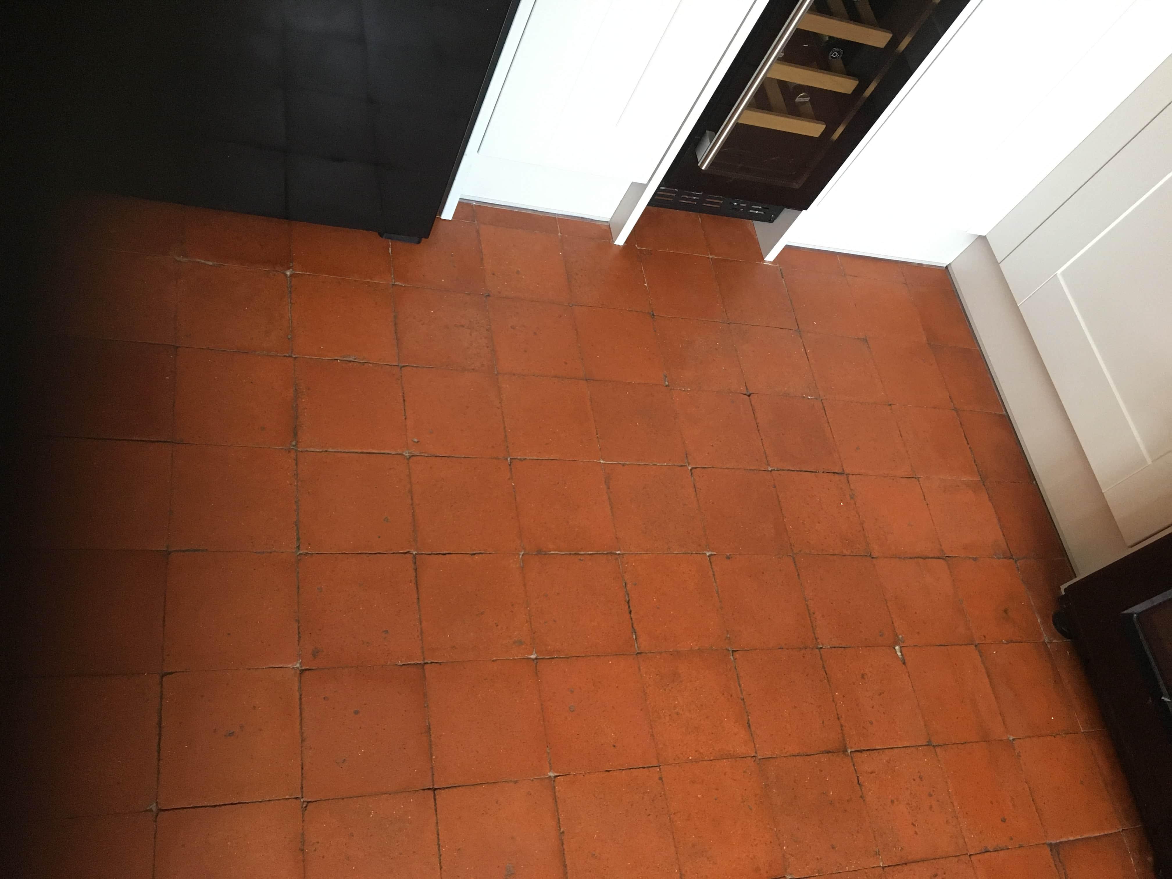 Old Victorian Quarry Tiled Floor After Renovation Hale Barns
